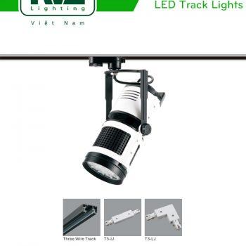 TLED309 - Đèn rọi ray SMD liền khối, thân nhôm đúc, sơn tĩnh điện, màu cách điệu trắng đen