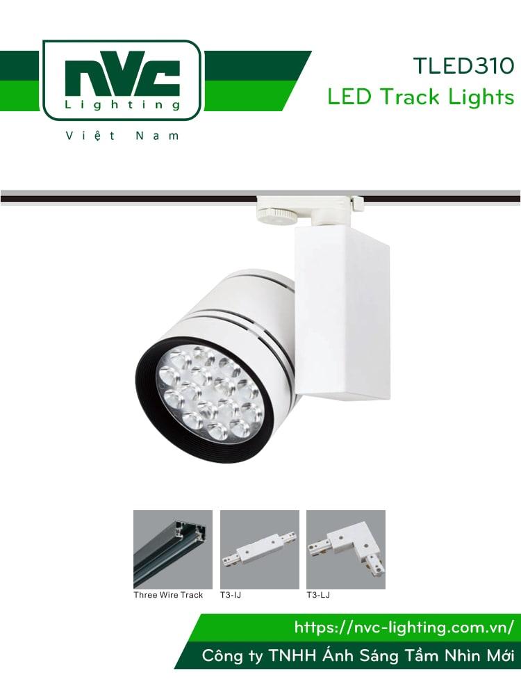 TLED310 - Đèn rọi ray SMD liền khối, chấn lưu dọc, thân nhôm đúc, sơn tĩnh điện, vân tán sáng