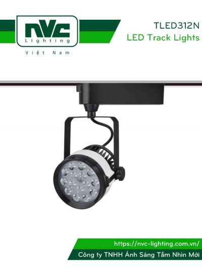 TLED312N - Đèn rọi ray SMD liền khối, thân nhôm đúc, sơn tĩnh điện, vân tán sáng, màu cách điệu đen trắng