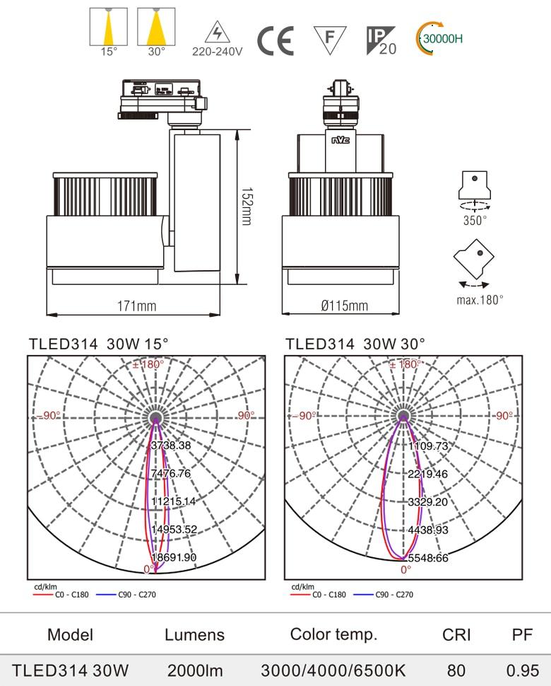 TLED314 - Đèn rọi ray SMD liền khối, chấn lưu dọc, thân nhôm đúc, sơn tĩnh điện, vân tán sáng