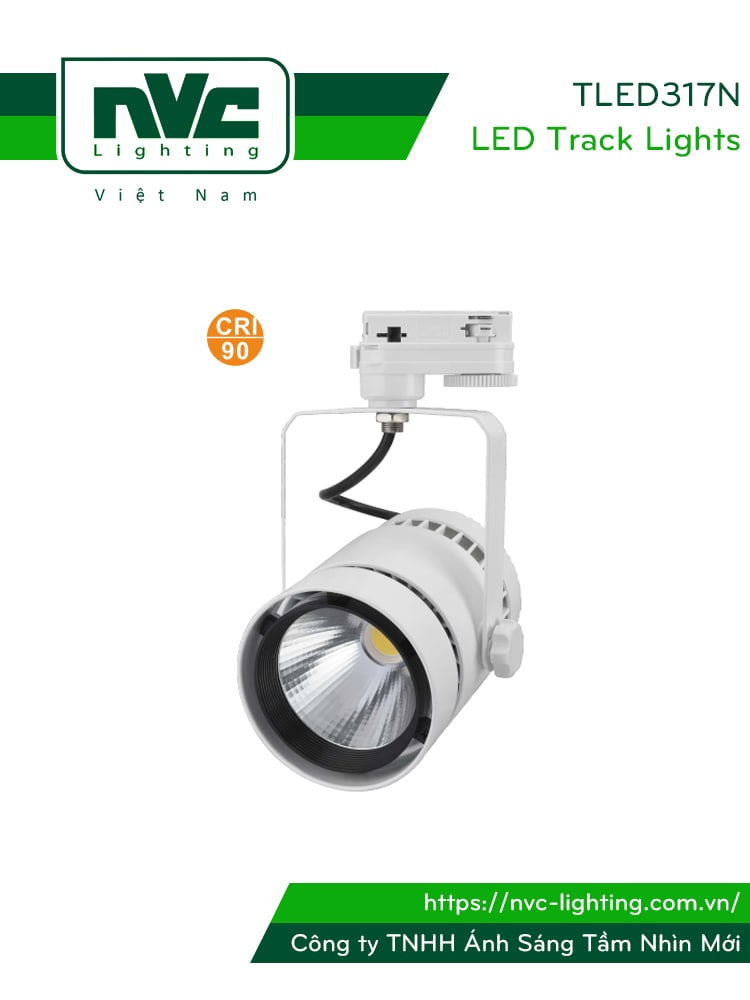 TLED317N - Đèn rọi ray COB liền khối, thân nhôm đúc, sơn tĩnh điện, vân tán sáng, CRI 90