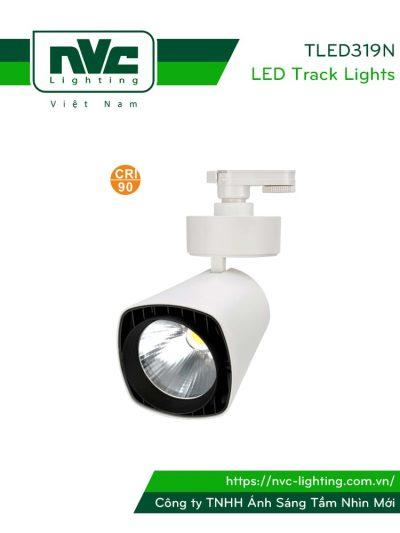 TLED319N - Đèn rọi ray COB liền khối, mặt vuông, thân nhôm đúc, sơn tĩnh điện, vân tán sáng, CRI 90
