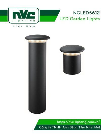 NGLED5612 12W - Đèn trụ nấm sân vườn thân hợp kim nhôm cán cao cấp phủ sơn tĩnh điện chống oxy hóa, lens PC chống chói, chip Cree, IP54, cao 220mm hoặc 750mm