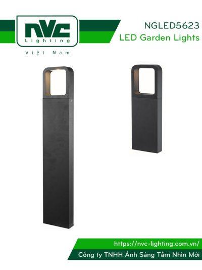 NGLED5623 9W - Đèn trụ nấm sân vườn chip Cree IP54, thân hợp kim nhôm cán cao cấp phủ sơn tĩnh điện chống oxy hóa, lens khuếch tán ánh sáng đều 2 bên, cao 350mm hoặc 650mm