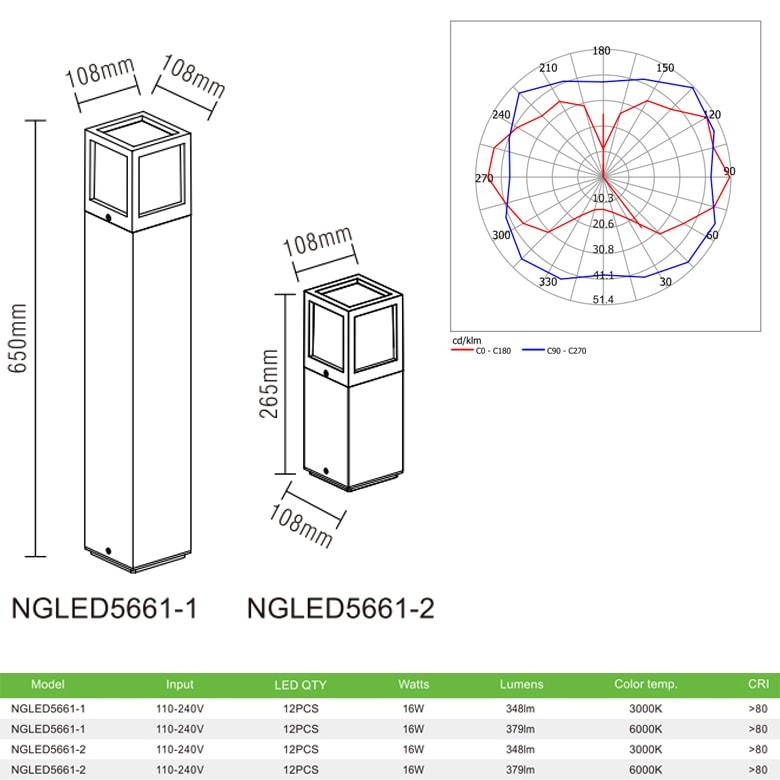 NGLED5661 - Đèn trụ sân vườn 16W IP54 chip CREE, thân hợp kim nhôm cán cao cấp phủ sơn tĩnh điện chống han gỉ, tán quang PC Opal, cao 265mm & 650mm
