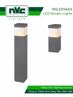 NGLED5663 - Đèn trụ sân vườn 13W IP54 chip CREE, thân hợp kim nhôm cán cao cấp phủ sơn tĩnh điện chống han gỉ, phát quang bằng PC trong giúp xuyên sáng tốt, cao 250mm & 650mm