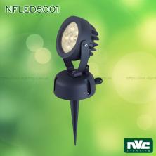 NFLED5001 8W - Đèn LED cắm cỏ chip Cree IP65, góc chiếu 25°, CRI 80, thân nhôm đúc phủ sơn tĩnh điện chống ăn mòn, mắt LED chống chói, mặt kính chịu lực chịu nhiệt, cao 142mm
