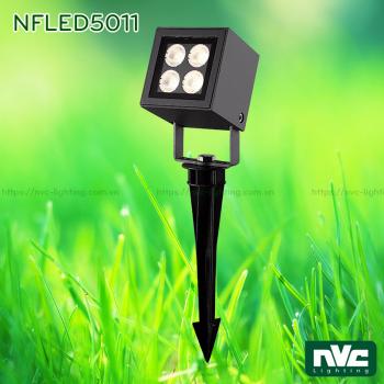 NFLED5011 8.5W - Đèn LED cắm cỏ mặt vuông IP65, góc chiếu 28°, CRI 80, thân nhôm đúc phủ sơn tĩnh điện chống ăn mòn, mắt LED vân chống chói, mặt kính chịu lực chịu nhiệt độ, chip Cree, cao 117mm