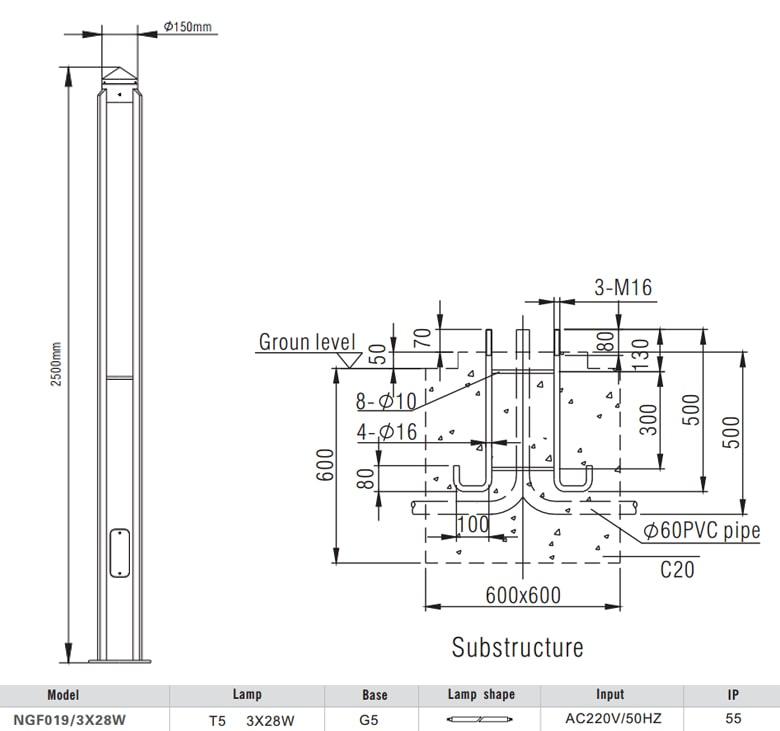 NG019 NGF019 3x28W T5 - Đèn cột sân vườn cao 2.5m, IP55, thân bằng hợp kim nhôm đúc cao cấp phủ sơn tĩnh điện chống ăn mòn, khuếch tán PMMA độ bền cao, có khả năng chống tia cực tím, chống chói