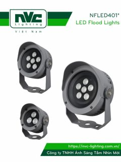 NFLED4012 NFLED4013 NFLED4014 - Đèn pha LED cắm cỏ chip NICHIA CRI80 IP65, góc chiếu 15°-30°, mắt vân chống chói, thân hợp kim nhôm đúc phủ sơn tĩnh điện chống oxy hóa, kính cường lực 4mm chịu nhiệt