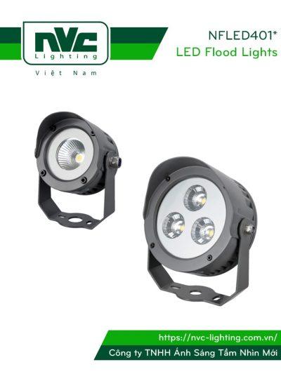 NFLED4015 NFLED4016 - Đèn pha LED cắm cỏ chip COB CRI > 80 IP65, góc chiếu 25°, thân hợp kim nhôm đúc phủ sơn tĩnh điện chống oxy hóa, kính cường lực 4mm chịu nhiệt