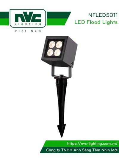 NFLED5011 - Đèn LED cắm cỏ mặt vuông IP65 8.5W, góc chiếu 28°, CRI > 80, thân nhôm đúc phủ sơn tĩnh điện chống ăn mòn, mắt LED vân chống chói, mặt kính chịu lực chịu nhiệt độ, chip CREE, cao 117mm