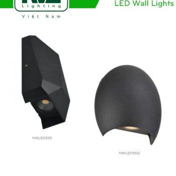 NWLED1001 NWLED1002 6W - Đèn LED gắn tường COB IP20 IP65 chiếu sáng 1 đầu theo phong cách Batman, thân nhôm đúc phủ sơn tĩnh điện trắng hoặc đen, kính cường lực mờ