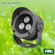 NFLED4012 7W, NFLED4013 13.5W, NFLED4014 18W - Đèn pha LED cắm cỏ chip Nichia CRI 80, IP65, góc chiếu 15° 30°, mắt vân chống chói, thân hợp kim nhôm đúc phủ sơn tĩnh điện chống oxy hóa, kính cường lực 4mm chịu nhiệt
