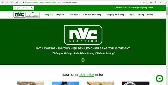 Hình ảnh chính thức website New Vision Light