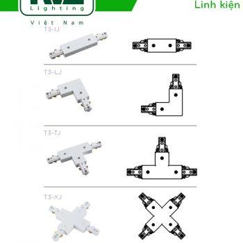 Đầu nối thanh ray T3: nối thằng I, nối góc J, L, T, X lắp đặt mọi góc cạnh địa hình