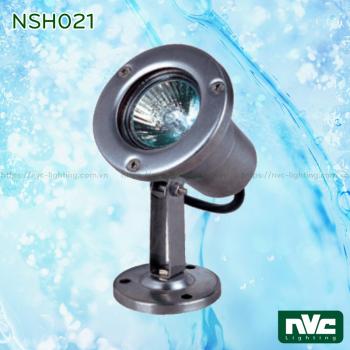 NSH021 lắp bóng rời MR16 (halogen max 35W hoặc LED max 6W) - Đèn LED âm nước rọi chỉnh hướng max 1.5m, thân inox 316, kính cường lực, bóng rời MR16
