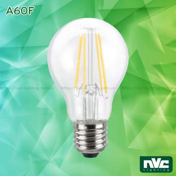 A60F 4W 5W 7W - Bóng đèn LED bulb sợi tóc góc chiếu 360°, đui xoáy E27, chóa thủy tinh, tản nhiệt nhôm đúc trong thân bóng, điện áp 110V-240V