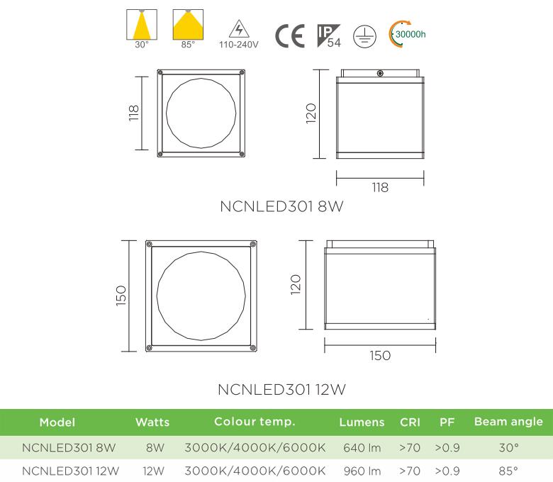 NCNLED301 - Đèn downlight lắp nổi dáng vuông khỏe khoắn