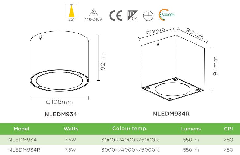 NLEDM934 NLEDM934R - Đèn LED downlight 7.5W lắp nổi, chống côn trùng, IP54, nhôm đúc nguyên khối, chip Cree