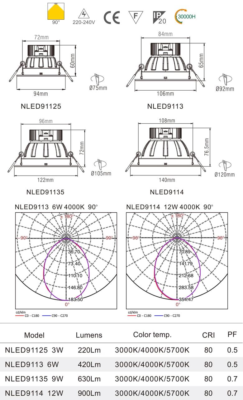 NLED91125 NLED9113 NLED91135 NLED9114 - Đèn downlight LED âm trần mặt lõm, kính mờ chống chói, vành giật cấp, tản nhiệt hợp kim nhôm cao cấp, chấn lưu liền