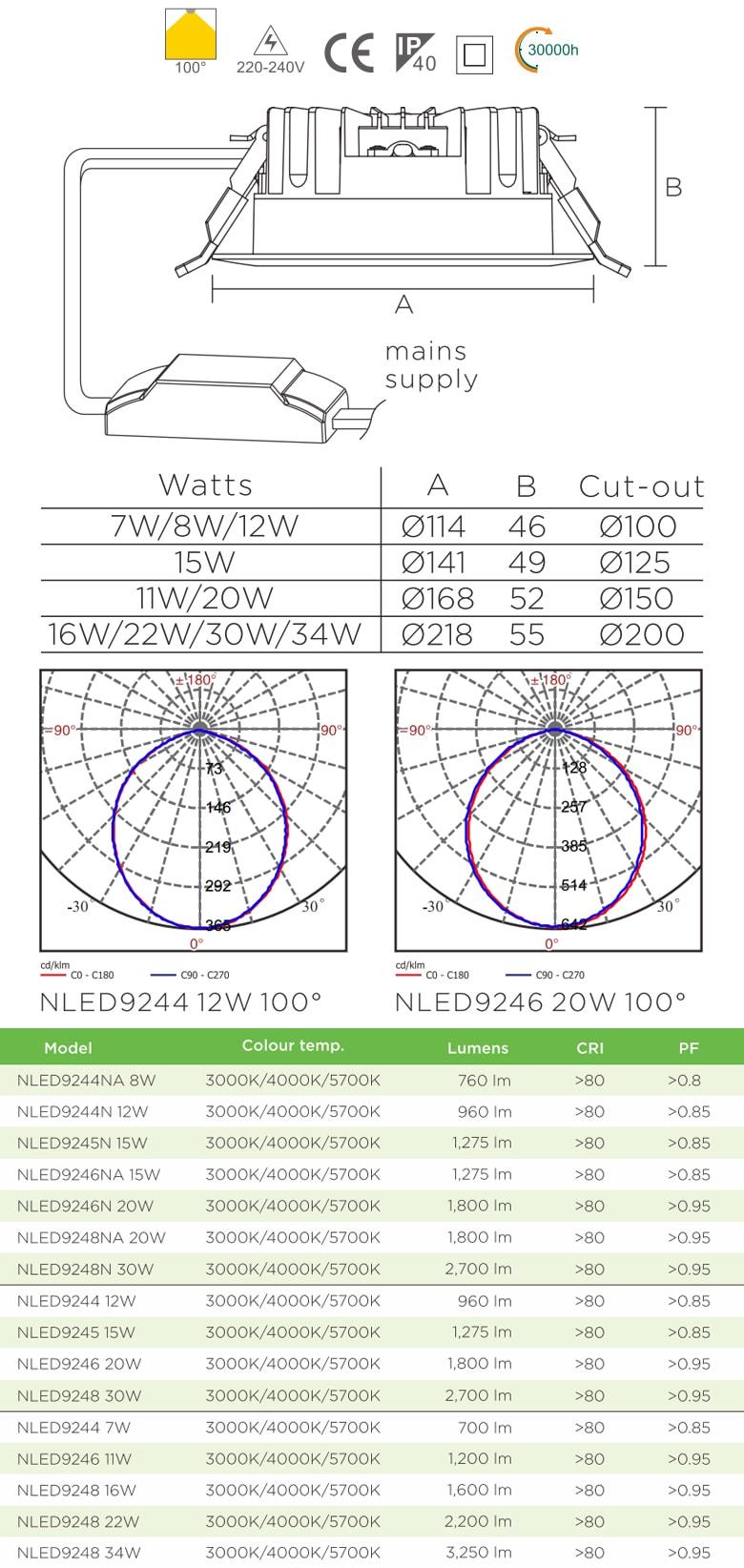 NLED9244 NLED9245 NLED9246 NLED9248 - Đèn downlight LED âm trần mặt lõm, kính mờ chống chói, đế tản nhiệt bằng hợp kim nhôm đúc cao cấp, chấn lưu rời