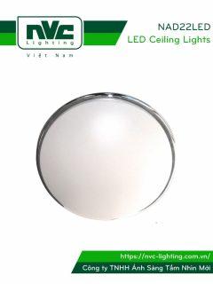NAD22LED - Đèn LED ốp trần nổi 2 trong 1 (đèn cảm ứng & dùng pin 1.5-3hrs khi có sự cố), mặt acrylic, vành chrome hoặc thép mạ
