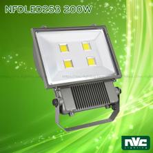 NFDLED253 50W 100W 150W 200W - Đèn pha LED ngoài trời COB IP65 (có tùy chọn tích hợp cảm biến vi sóng tự động tắt bật), thân nhôm đúc nguyên khối phủ sơn tĩnh điện chống ăn mòn, chóa nhôm 6063 phản quang truyền tải ánh sáng xa và ít hao tổn, góc chiếu 120°