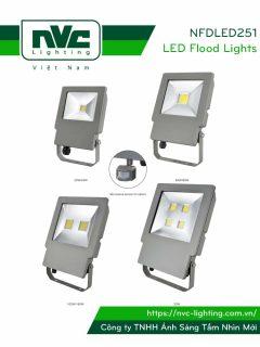 NFDLED251 20W 40W 60W 80W 100W 160W 200W - Đèn pha LED ngoài trời COB IP65 tích hợp cảm biến vi sóng tự động tắt/bật, thân nhôm đúc nguyên khối phủ sơn tĩnh điện chống ăn mòn, chóa nhôm 6063 phản quang truyền tải ánh sáng xa và ít hao tổn, góc chiếu 100°