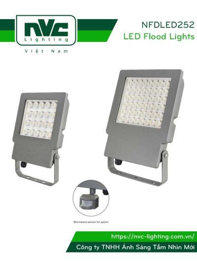 NFDLED252 - Đèn pha LED ngoài trời IP65 tích hợp cảm biến vi sóng tự động tắt/bật, thân nhôm đúc nguyên khối phủ sơn tĩnh điện chống ăn mòn, PC lens giúp giảm thiểu độ chói, góc chiếu 45° & 60°