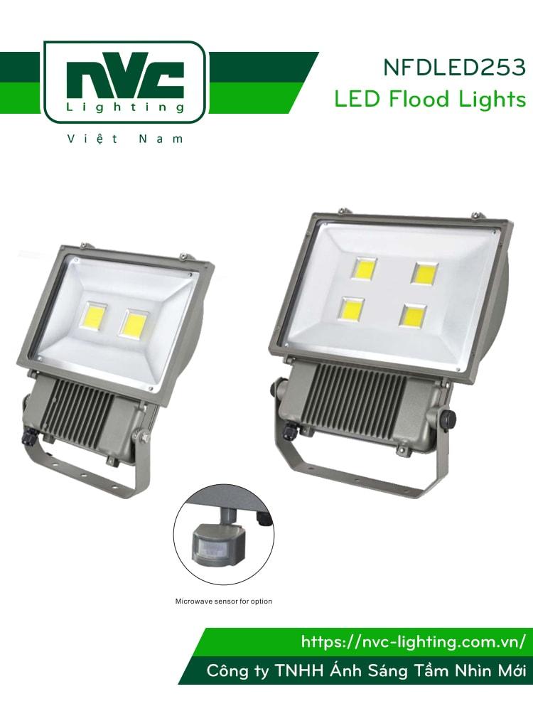 NFDLED253 50W 100W 150W - Đèn pha LED ngoài trời COB IP65 tích hợp cảm biến vi sóng tự động tắt/bật, thân nhôm đúc nguyên khối phủ sơn tĩnh điện chống ăn mòn, chóa nhôm 6063 phản quang truyền tải ánh sáng xa và ít hao tổn, góc chiếu 120°