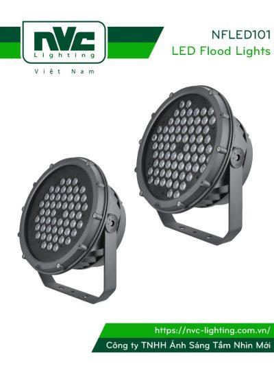 NFLED101 - Đèn pha LED ngoài trời IP65, thân nhôm đúc nguyên khối phủ sơn tĩnh điện chống ăn mòn, mắt vân chống chói, chip CREE/ETI, góc chiếu 15°/30°/60°, điện áp 220V-240V