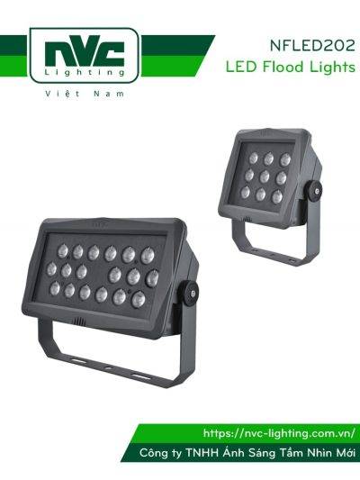 NFLED202 - Đèn pha LED ngoài trời mặt vuông/chữ nhật IP65, thân hợp kim nhôm đúc nguyên khối phủ sơn tĩnh điện chống ăn mòn, mắt vân chống chói, chip Cree/ETI, góc chiếu 15°/30°/60°, CRI > 70
