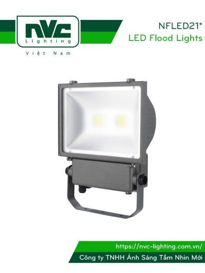 NFLED211 80W 100W 120W, NFLED212 160W 200W - Đèn pha LED ngoài trời COB IP65, thân hợp kim nhôm đúc nguyên khối phủ sơn tĩnh điện chống ăn mòn, mặt kính chịu lực lsgm mờ chống chói & chịu được nhiệt độ lạnh/nóng, góc chiếu 110°