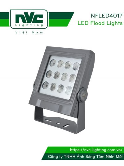 NFLED4017 - Đèn pha LED ngoài trời COB 25W IP65 mặt vuông, thân nhôm đúc nguyên khối phủ sơn tĩnh điện chống ăn mòn, mặt kính chịu lực 7mm chịu được lạnh và nhiệt độ cao, mắt vân chống chói, chip OSRAM, góc chiếu 20°/30°/45°