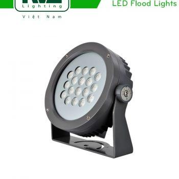 NFLED4018 35W - Đèn pha LED ngoài trời COB IP65 mặt tròn, thân nhôm đúc nguyên khối phủ sơn tĩnh điện chống ăn mòn, mặt kính chịu lực chịu nhiệt dày 5mm, mắt vân chống chói, chip Osram, góc chiếu 20°