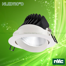 NLED110* Series - Đèn rọi LED âm trần COB nguyên khối, CRI 90, mặt và tản nhiệt bằng nhôm đúc, mặt lõm, DIM