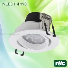 NLED1144ND 4W, NLED1146ND 6W, NLED1148ND 8W - Đèn rọi LED âm trần SMD nguyên khối, mặt lõm, vành xoay 60°, vân tán quang, chấn lưu liền