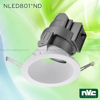 NLED801*D NLED801*ND Series - Đèn spotlight âm trần LED COB nguyên khối CAO CẤP, CRI 90, vành xoay 30 độ, chiếu sáng gián tiếp, hắt sáng chéo 45°, tương thích DALI