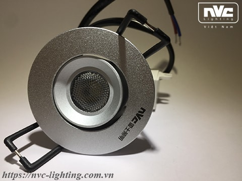 NLED105D 2W - Đèn rọi tủ rượu, chip COB nguyên khối, mắt vân kim cương chống chói, vành xoay 60°, mặt và tản nhiệt bằng nhôm đúc, chấn lưu rời