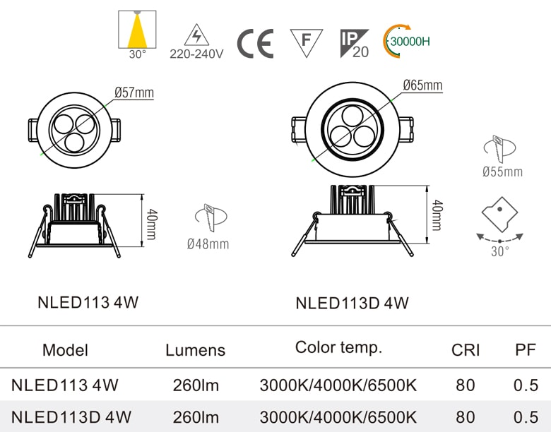 NLED113 NLED113D - Đèn rọi âm trần chiếu điểm SMD 4W, mắt kim cương chống chói, vành và tản nhiệt đúc nguyên khối