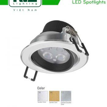 NLED1134ND 4W, NLED1136ND 6W, NLED1138ND 8W - Đèn rọi âm trần LED SMD nguyên khối, mặt lõm, vành xoay 60°, vân tán quang, chấn lưu liền