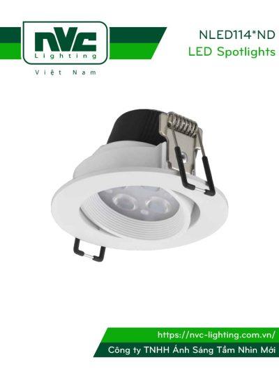 NLED1144ND 4W, NLED1146ND 6W, NLED1148ND 8W - Đèn rọi âm trần LED SMD nguyên khối, mặt lõm, vành xoay 60°, vân tán quang, chấn lưu liền