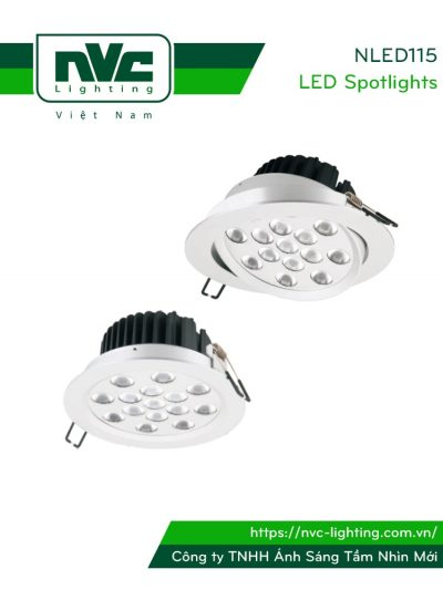 NLED115 NLED115D - Đèn rọi âm trần SMD nguyên khối 30W, mắt kim cương chống chói, chấn lưu rời