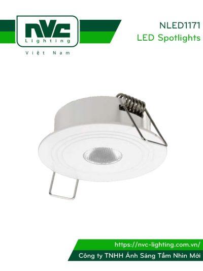 NLED1171 2W - Đèn rọi âm trần đa ứng dụng (chiếu sáng khẩn cấp, chiếu tủ rượu,...) thân nhôm đúc, mắt vân kim cương chống chói