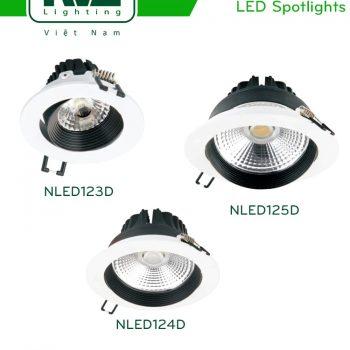 NLED123D 4W 7W, NLED124D 9W 12W, NLED125D 15W 18W - Đèn rọi âm trần nguyên khối LED COB, mặt lõm, tản nhiệt nhôm đúc, NLED123D mắt vân tán quang, NLED124D mắt ngọc chống chói, NLED125D mắt vân chống chói