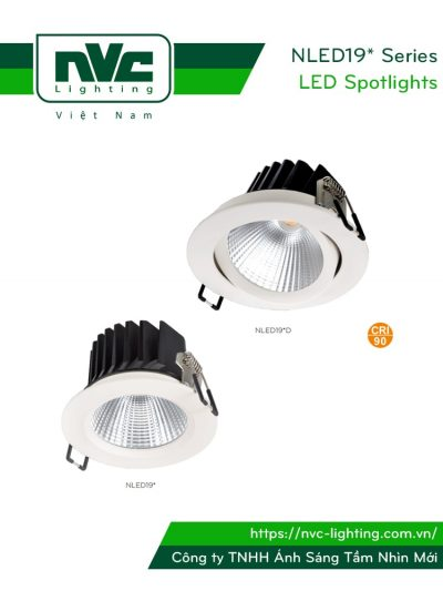 NLED191 NLED191D 4W 6W, NLED192 NLED192D 9W 12W - Đèn rọi LED âm trần COB nguyên khối, mặt lõm, tản nhiệt nhôm đúc, có vành xoay 60°