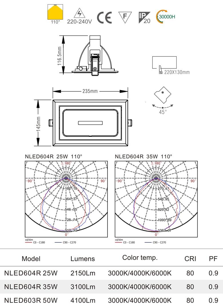 NLED603R 50W (COB), NLED604R 25W 35W (SMD) - Đèn spotlight âm trần là mờ chống chói, lắp nổi, hình chữ nhật, góc xoay 45°