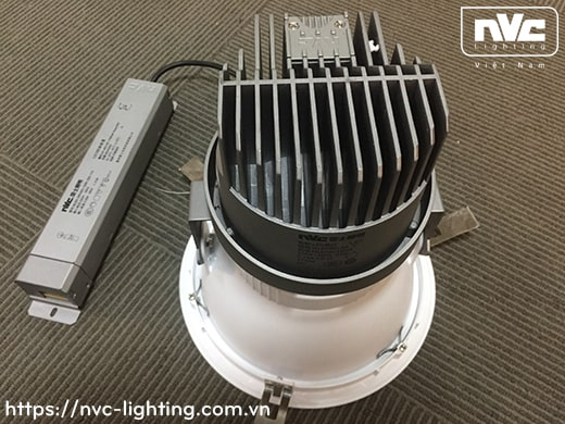 NLED8014NA 15W, NLED8015NA 25W, NLED8016NA 35W, NLED8018NA 50W - Đèn spotlight âm trần LED chóa mờ chống chói, tản nhiệt nhôm đúc, tương thích DALI