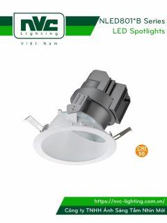NLED801*B NLED801*NB Series - Đèn spotlight âm trần LED COB nguyên khối CAO CẤP, chiếu sáng gián tiếp, hắt sáng chéo 45°, tương thích DALI